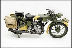 Auction Lot Monterey, CA The Barry Solomon Motorcycle Collection. Restored to original military battle condition. Girder-forked Model Two seats and saddle bags. Vintage Bikes, Vintage Motorcycles, Motorcycle Museum, Motorcycle Manufacturers, Easy Rider, Royal Enfield, War Machine, Ducati, Motorbikes