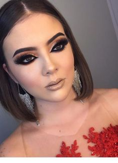 Short hair and big earrings - Make Up - Maquillaje Cute Makeup Looks, Fancy Makeup, Glam Makeup, Love Makeup, Simple Makeup, Makeup Inspo, Bridal Makeup, Wedding Makeup, Makeup Inspiration