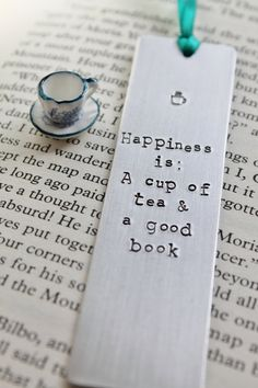 Happiness is A Cup of Tea and a Good Book  Metal by MauveMagpie, £8.00