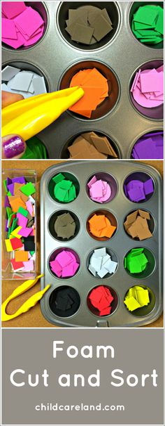 Foam Cut and Sort . great for fine motor and scissor skills. Foam Cut and Sort . great for fine motor and scissor skills. Motor Skills Activities, Montessori Activities, Gross Motor Skills, Color Activities, Preschool Activities, Children Activities, Preschool Classroom, Preschool Learning, Learning Activities