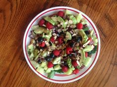 Raspberry, Blueberry, Almond, Kale Salad