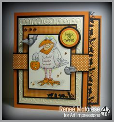 This is my second post today so please scroll down to see my other post. My card features one of the new Halloween se. Chicken Costumes, Art Impressions Stamps, Halloween Cards, Embossing Folder, Fall Crafts, I Card, Card Making, Crafty, Search Engine