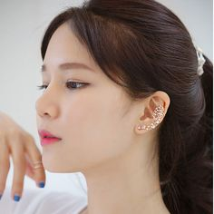 Sparkling CZ butterfly Pierced Ear Cuff Earrings by MAPSYstore, $18.80