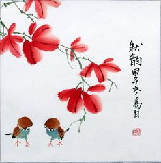Chinese painting Birds Flowers 16x16 Feng by Vintagecollection888