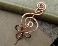 Celtic Double Crossed Loops Brass Shawl Pin Hair Pin Scarf