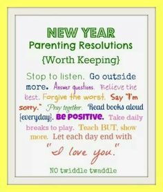 Parents new years resolution