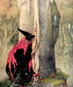 'Rapunzel, Rapunzel, let down your hair' Old, Old Fairy Tales - Illustrated by Anne Anderson #witch #halloween