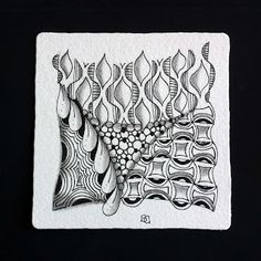 Zentangle by Sue Clark using her new Tangle Patterns: Xenso, Falz.
