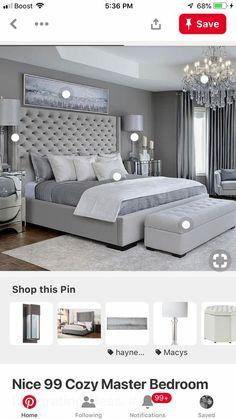 Schlafzimmer ideen Warm Bedroom ideas for cozy room, example 6355483093 Grey Bedroom Design, Simple Bedroom Design, Grey Bedroom Decor, Warm Bedroom, Master Bedroom Interior, Home Bedroom, Master Bedroom Grey, King Bedroom Sets, Bedroom Designs
