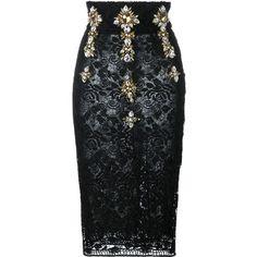 Black embellished high waist lace pencil skirt from Stefano De Lellis  featuring a high waist 27f34ca5308