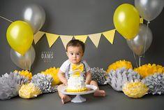 Amanda Dams Photography - Cake Smash Grey + Yellow