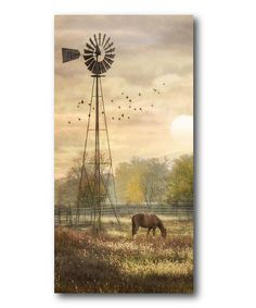 Look what I found on #zulily! Sunset Windmill & Horse Wrapped Canvas by Courtside Market #zulilyfinds