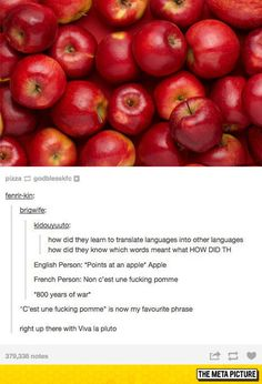 C'est une fucking pomme 😂😂😂 I speak french which makes this more hilarious 😂 Tumblr Stuff, Funny Tumblr Posts, Funny Cute, The Funny, Lol, Best Of Tumblr, Funny Pins, Funny Stuff, Random Stuff