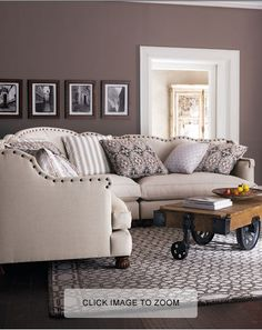 Linen couch with beautiful nailhead details