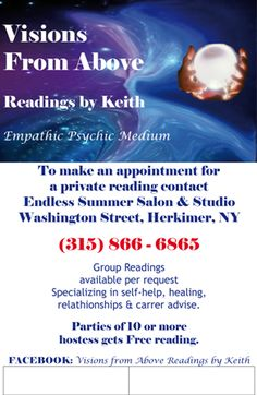 Visions From Above Readings By Keith https://www.facebook.com/Visionsfromabovereadingsbykeith/