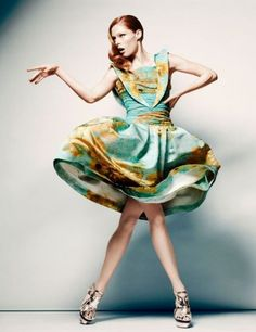 Coco Rocha wears Rodarte's S/S 2012 Sunflower Dress and Shoes in the Hudson Bay Company Spring campaign.