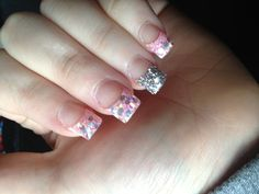Baby pink & silver glitter acrylics