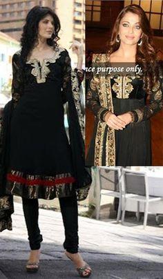 Aishwarya Rai Black Faux Georgette Salwar Suit.    Product Code : G3-LSA103014  Price : INR RS 8190