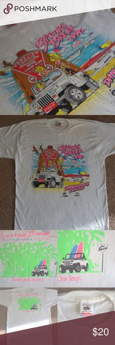 Vintage RARE Dayton beach SPRING BREAK 1990 tee. Vintage RARE Dayton beach SPRING BREAK 1990 T-shirt featuring Dominos and Jeep, CLEAN, recently dry cleaned, white, cotton, made in USA . PERFECT unique gift for Valentine's Day. BUNDLE 2 or more receive 15% OFF. Will accept REASONABLE  offers. Shirts Tees - Short Sleeve
