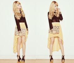 1. high skirt, LEMONACCESSORY  2. top, CLOTHES-FOR-THE-GODDESS  3. leopard clutch, SANSUESHOP  4. heels, JEFFREY CAMPBELL