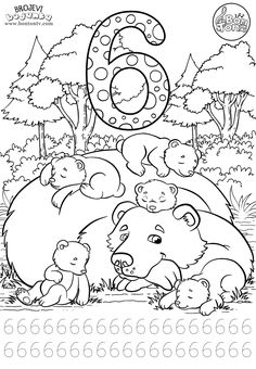Number 6 - Preschool printables - worksheets coloring pages for kids (Learning numbers, counting - Broj 6 - Bojanke za djecu - brojevi, radni listovi BonTon TV Color Worksheets For Preschool, Preschool Colors, Preschool Writing, Numbers Preschool, Learning Numbers, Preschool Printables, Kindergarten Worksheets, Preschool Activities, Coloring Worksheets