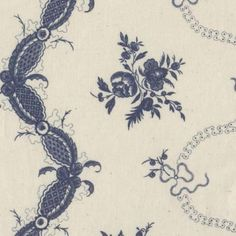 Varola blue floral fabric, based on 18th C Swedish pattern, 100% cotton, made in Sweden