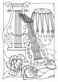 Kleurplaat muziekinstrumenten  Coloring page Musical instruments