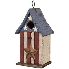 Item Number: 63982 Dimensions: 6.00 x 6.75 x 11.50 inches Carson Home Accents birdhouses are constructed from wood & metal with hand painted design elements. Both decorative & functional, Carson birdh