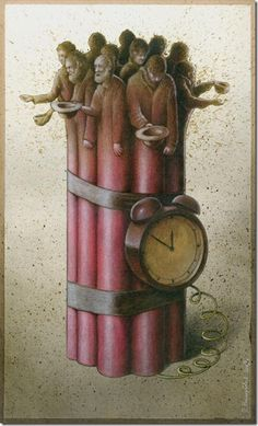 By Pawel Kuczynski; The poor a ticking bomb--I love art that actually makes you think.