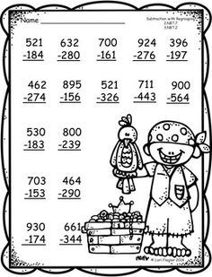 3 digit Additon and Subtraction with Regrouping Printables- 2nd Grade Math Worksheets, Printable Math Worksheets, Math Tutor, School Worksheets, 3rd Grade Math, Teaching Math, Math Games, Math Activities, Word Games