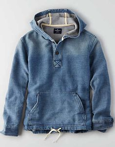Shop men's hoodies & sweatshirts on sale at American Eagle to get great prices on your new favorite styles. Browse clearance hoodies and sweatshirts today! Chambray Outfit, Denim Fashion, Fashion Outfits, Casual Shirts, Casual Outfits, Mens Sweatshirts, Hoodies, Mens Outfitters, Eagle Outfitters
