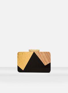 Geometric wooden clutch | Uterqüe United Kingdom