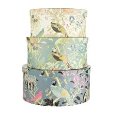 1532421bb38 Butterfly Home by Matthew Williamson Set of three turquoise peacock printed  hat boxes