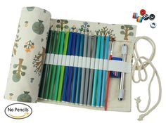 Amazon.com: CreooGo Canvas Pencil Wrap, Pencils Roll Pouch Case Hold For 72 Colored Pencils ( Pencils are not included )-Sapling, 72 Holes