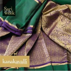 Sari of the week  The beautiful flowers crafted in gold zari in a repeat pattern look resplendent against the rich backdrop of purple silk. The parade of beautiful motifs such as annam, vine, elephant, diamond and leaf give this Kanakavalli Kanjivaram an aura of grandeur and festivity. Beautifully hued green silk completes the appeal. Presenting this gorgeous Kanakavalli Kanjivaram sari as our pick of the week.