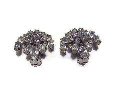 Vintage Rhinestone Clip Earrings by SharkysWaters on Etsy, $24.00