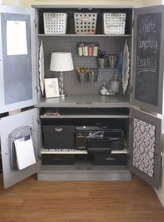 Repurpose a media cabinet or armoire into your own personal office. Via A Diamond in the Stuff No office? Repurpose a media cabinet or armoire into your own personal office. Via A Diamond in the Stuff Armoire Cabinet, Armoire En Pin, Craft Armoire, Craft Cabinet, Media Cabinet, Tv Cabinet Redo, Corner Armoire, Craft Storage Cabinets, Sewing Cabinet