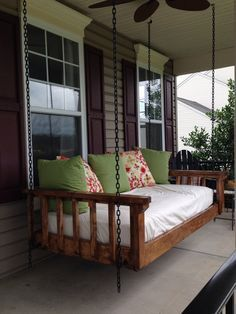 Turned an old twin mattress into the best couch bed swing! Our favorite spot in all seasons! A must for a porch Porch Bed, Diy Porch, Rustic Porch Swings, Farmhouse Front Porches, Cool Couches, Outdoor Daybed, Sofa Couch, Twin Mattress Couch, House With Porch