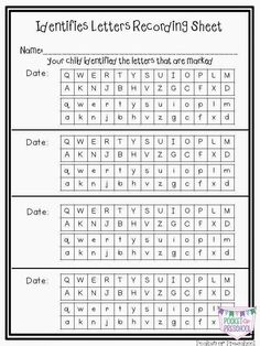 Identifies Letter data page for preschool, pre-k, and kindergarten Pocket of Preschool Letter Assessment, Kindergarten Assessment, Homeschool Kindergarten, Preschool Worksheets, Preschool Learning, Kindergarten Classroom, Early Learning, Homeschooling, Summative Assessment