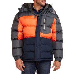 Big Men's Colorblock Bubble Jacket with Removable Hood, Size: 4XL, Orange
