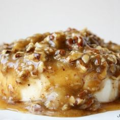 This Caramelized Pecan Brie is the perfect appetizer and sweet alternative to a traditional cheeseball. You won't be able to stop at just one bite!