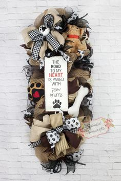 Dog Wreath, Door Swag, Dog Mesh Wreath, Pet Wreath, Everyday Wreath, Animal Wreath, Animal Lover Wreath, Dog Home Decor by SplendidHomecrafts on Etsy