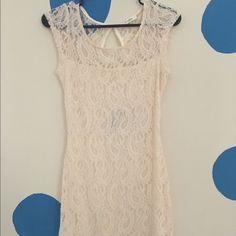 Lace Mini Dress Beautiful cream lace mini dress. No tags, but never worn. Dresses Mini