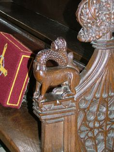 Giraffe with a super bendy neck… Bench end at St Mary's, Dennington.