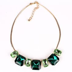 Min.Order $10 MN251 Fashion Crystal Necklace Gold/Green Crystal Pendant Gold Chocker Collar Two Tone Fashion style Free Shipping