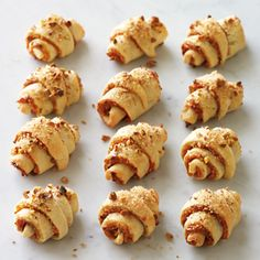 Rugelach with Apricot and Pistachios Recipe Sweets Recipes, Just Desserts, Cookie Recipes, Rugelach Cookies, Pistachio Recipes, Snacks To Make, Soft Foods, Holiday Recipes, Recipes