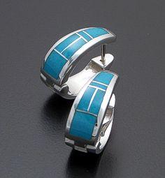 Turquoise Soul  . . .  David Rosales Designs - Arizona Blue Inlay & Sterling Silver Huggie Hoop Earrings