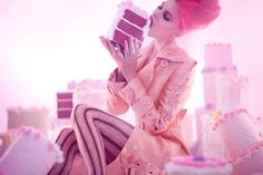 Sexy Girl With Pink Hair Eating A Cake more at Recipins.com