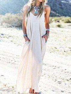 Sexy V neck Beach Halter Solid Color Dress
