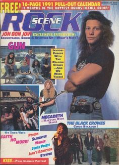 Jon Bon Jovi - Rock Scene Magazine Cover [United States] (January 1991)